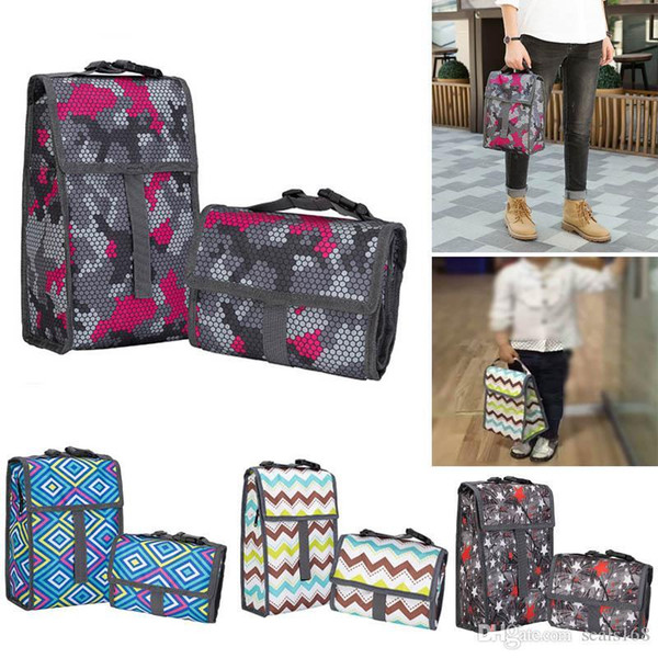 Lunch Bag Organizer With Zipper Canvas Foldable Cooler Insulation Picnic Bags Tote Carry Case For Travel Kids Women Thermal Bag HH7-1325