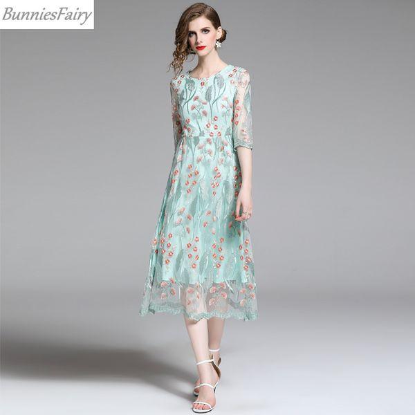 Abito in maglia ricamata estate femminile dolce lungo fresco vestito longuette verde