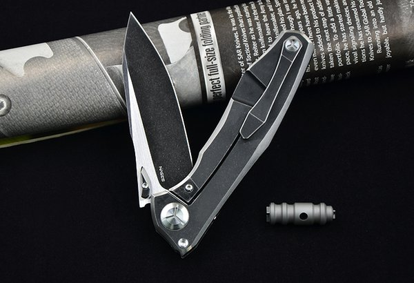Ücretsiz kargo VENOM entegre kanat siyah S35VN KATı titanyum fin katlanır bıçak seramik rulman açık kamp avcılık EDC aracı