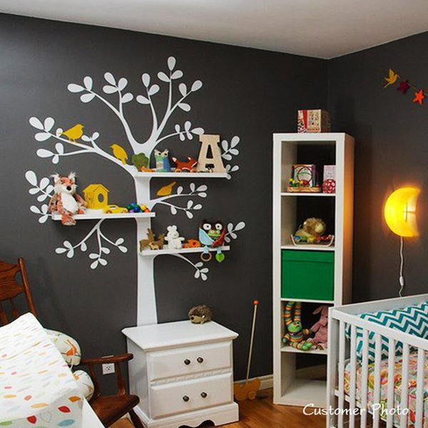 Large Tree Birds Wall Decals Sticker Nursery Decoration Wallpaper Stickers Shelves not included Home Decor Size 238cm x140cm