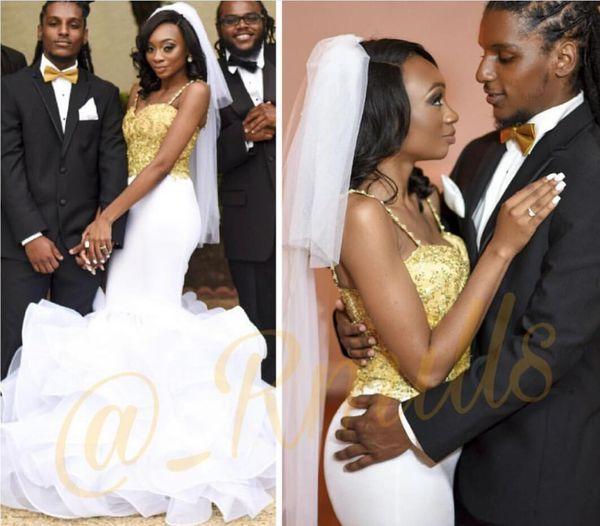 Vestidos De Casamento De Ouro de luxo Organza Ruffles SweepTrain Sereia Menina Negra Vestidos de Noiva vestido de novia