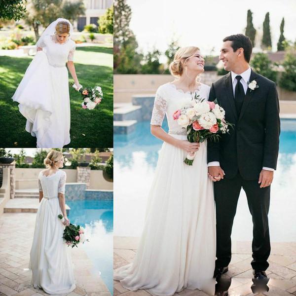 2019 Cheap Country Wedding Dresses A Line Beaded Belt Sweep Train Beach Boho Wedding Dress A Line Half Long Sleeves Bridal Gowns Plus