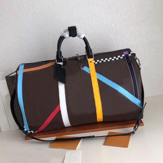 2020 yeni yüksek kaliteli lüks tasarımcı seyahat çantası m55819 moda renk çubuğu büyük kapasiteli çanta açık moda zinciri çanta 50x29x23