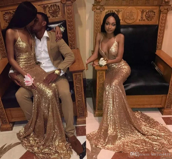 Gold African Sequined Mermaid Prom Dresses Deep V Neck Halter Sheath Backless Sweep Train Sparkly Formal Evening Party Gowns