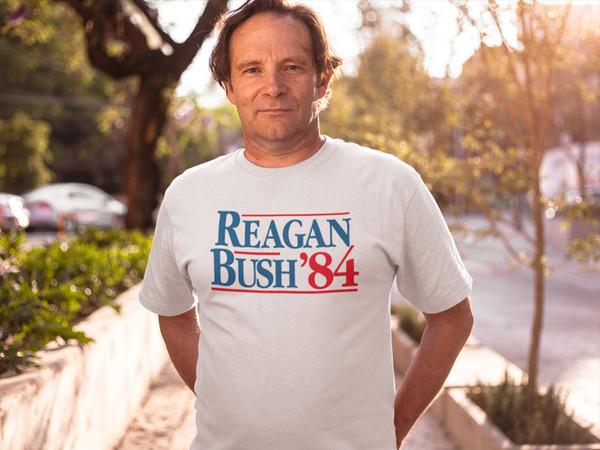 Реган Буш 84 футболка Vintage Tee Кампания Поп-культура Президент Белый