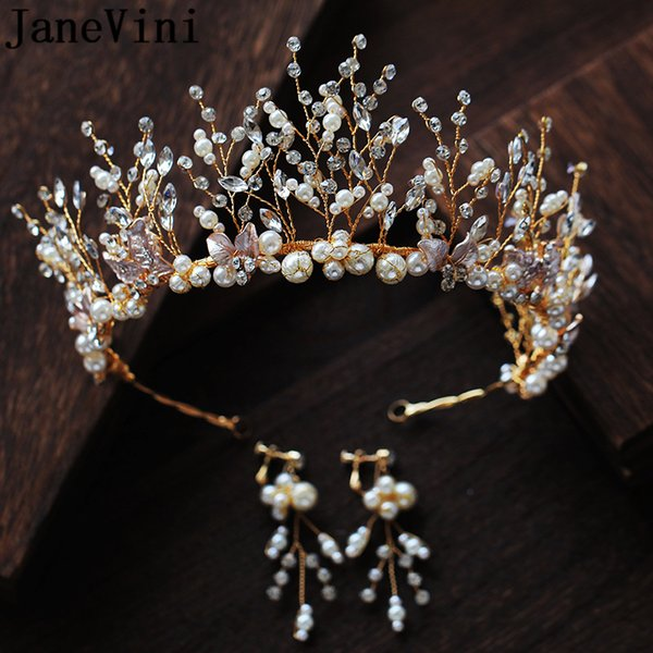 JaneVini Luxury Gold Bridal Crowns with Earrings Set Princess Pageant Tiaras Pearls Wedding Headpiece Brides Head Jewelry Hair Accessories