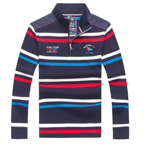 2019 Designer de Moda Mens tubarão polo longo da luva # 002 Itália Casual Stlye Verão PS Polos t-shirt 100% algodão de luxo Yachting lapela Tees