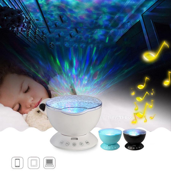 Projecteur Ocean Wave Starry Sky LED Night Light télécommande d'onde Lampe de projection Lampe étoile projecteur USB Lampe Veilleuse DH1066