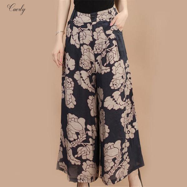 Pantacourt large d'été Nouvelle jambe de pantalon Fleur Pantalon Broeken Femme capris Lin Femme Feminina Motif Jupe Pantalon Femmes Culottes