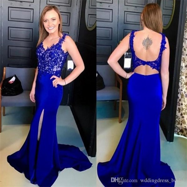 2019 Sexy Front Split Evening Dresses Mermaid V Neck Lace Appliques Open Back Robe De Soiree Long Party Gowns Elegant Celebrity Prom Dresses