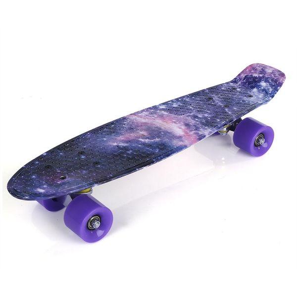 22 inch Stars Pattern Four-wheel Long Skateboard PP Plastic Board Deck Skate Long Board Graphic Galaxy Complete Boy Girl Led Light
