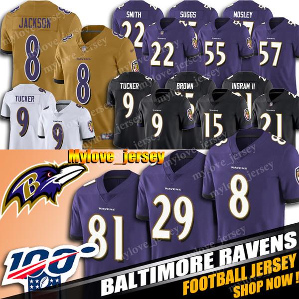 8 Lamar Jackson Jersey 29 Earl Thomas III Jersey Raven Futbol Formalar 21 Mark Ingram II Formalar 81 Hayden Hurst 9 Justin Tucker Sıcak Satış