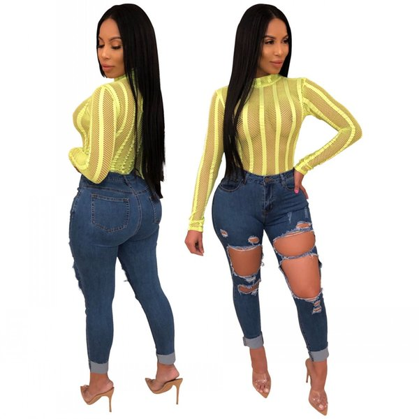 2019 Hot Sale Ripped Holes Sexy Women Jeans Dark Blue Denim Pants High Waist Zipper Fly Pencil Casual Trousers Real Sample as below