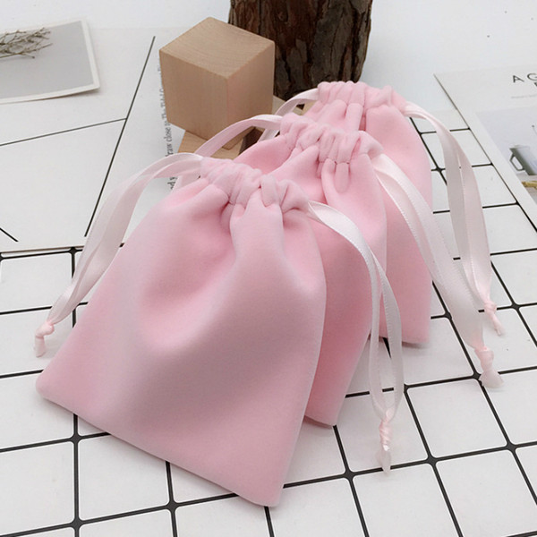 20PCS Velvet Drawstring Bag Packaging Jewelry Flannel Pouch Makeup Wedding Party Eyelash Storage Gift Bag Sachet Print Logo