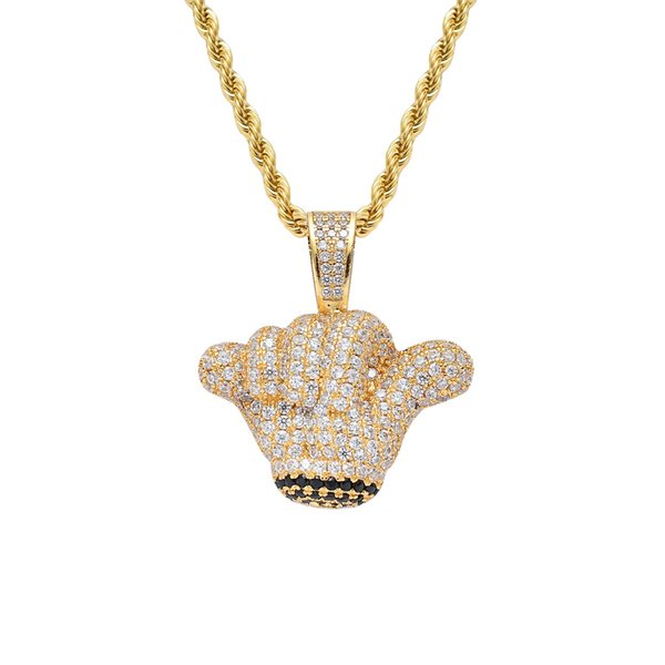Men Iced out Gold Gesture Pendant Chain Rhinestone Rock Hand Charm Necklaces Hip Hop Jewelry Necklace for Women
