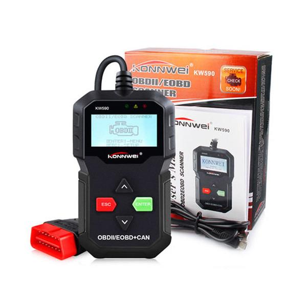 Directo de fábrica KONNWEI KW590 OBD OBD2 Automático Escáner ODB2 Herramienta de diagnóstico de coche en lector de código ruso Auto Scanner