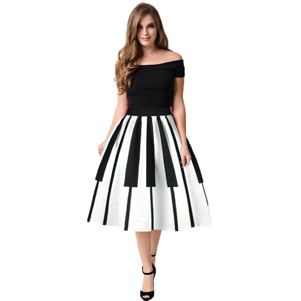 feitong Women High Waist skirt Piano Keys Printed Skirt Thin Fancy Pattern SkirtBlack Casual High Waist Vintage #w40