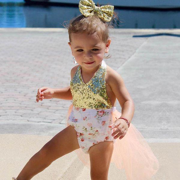 INS romper do bebê vestidos macacão de flores recém-nascidos da princesa macacão de flores do bebê menina infantil roupas de grife recém-nascido da menina do bebê roupas A6764