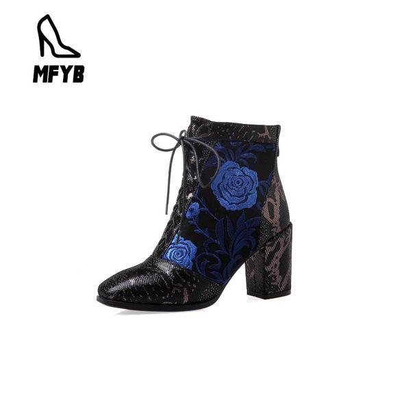 Botas MFYB das mulheres 2019 comércio exterior inverno novo quadrado cabeça de salto alto bordado cruz cinta baixa tubo moda botas 34-43