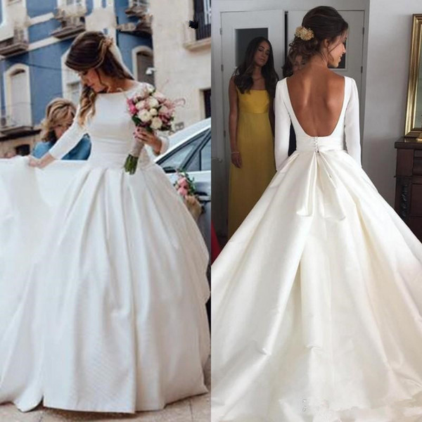 2019 Long Sleeve Ball Gown Wedding Dresses Big Open Back Boat Neckline Draped White Satin Cheap Wedding Dress Bridal Gowns vestido de novia