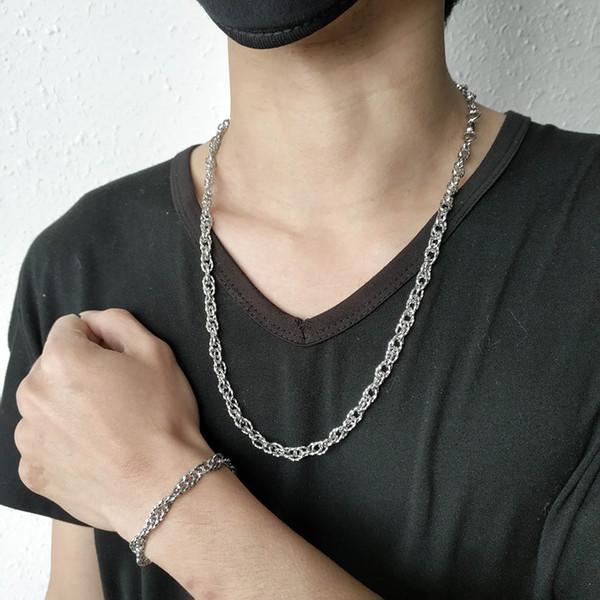 TL Hombres Pulsera y collar Diseñador de plata chapado Cadenas finas Joyería de hip hop Acero inoxidable difícil de desvanecer 2 piezas 5% de descuento