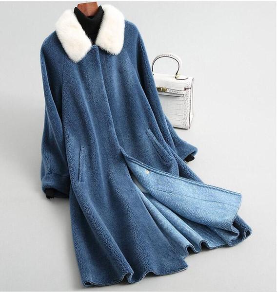 2018 A22 womens winter warm genuine wool fur with real raccoon fur collar winter coat lady short coat jacket overcoat