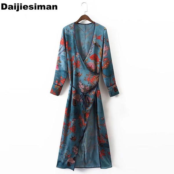 Knöchellang Vintage Kimono Cardigan Floral Bird Butterfly Print V-Ausschnitt Kreuz Schnürung gebunden Schärpen langes Kleid Frauen Streetwear # 396122