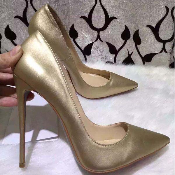 Hot Sale-Pointed Toe Silber Gold Red Bottom High Heels Frauen aus echtem Leder Frau Spiegel Pumps Schuhe Prom Hochzeit Schuhe