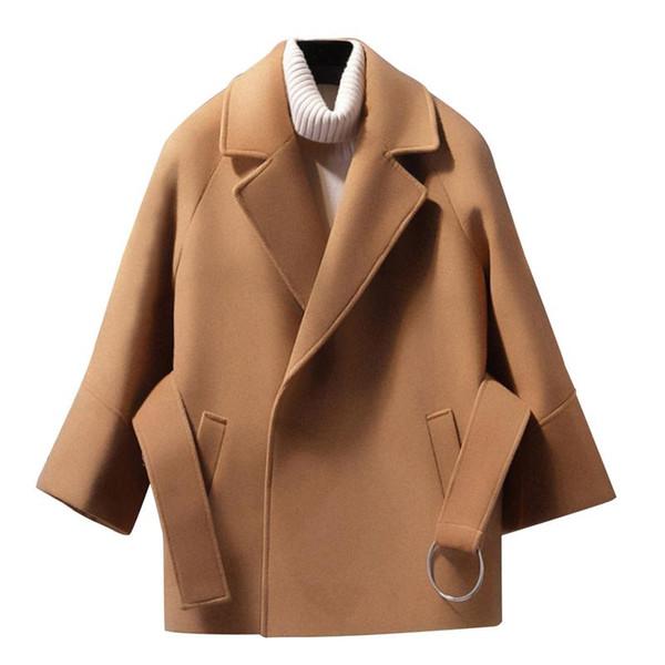 Großhandel Mantel Wintermantel Wollmantel Baumwollmischung Jacke Koreanische Weibliche Elegante Cape Frauen Frau Casacos Kurze Lose Mäntel F1TclKJ