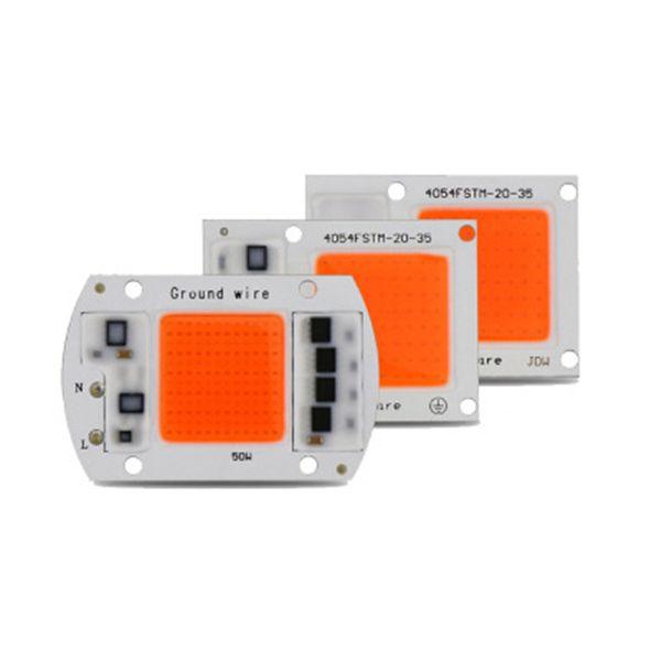LED COB CHIP tam spektrum beyaz sıcak beyaz AC220V / 110V bitki ışık 20W 30W 50W LED projektör lambası modülü 380-840nm büyümek