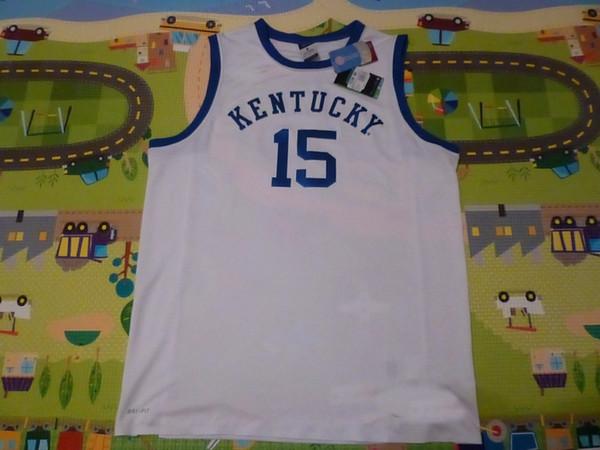 Personalizado barato NWT Kentucky Wildcats # 15 2014 Loucura de Março Jersey Branco Costurado Personalizar qualquer nome de número HOMENS MULHERES DA JUVENTUDE XS-5XL