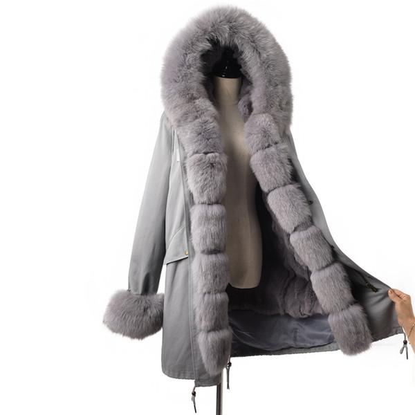 FURSARCAR Fashion Grau 80 CM Jacke Echtpelz Parka Damen Luxus Wintermantel Mit Fuchspelzkragen Und Manschette Lässig Warmer Parka
