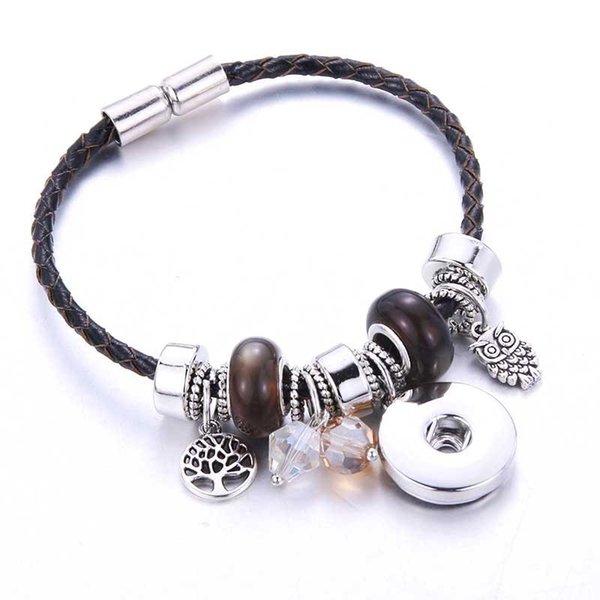 2018 Nouveau 6 Couleurs Snap Bracelet Aimant boucle Véritable Bracelets En Cuir couleur Unie Perlé bracelet Fit 18MM Snap Bijoux 8772