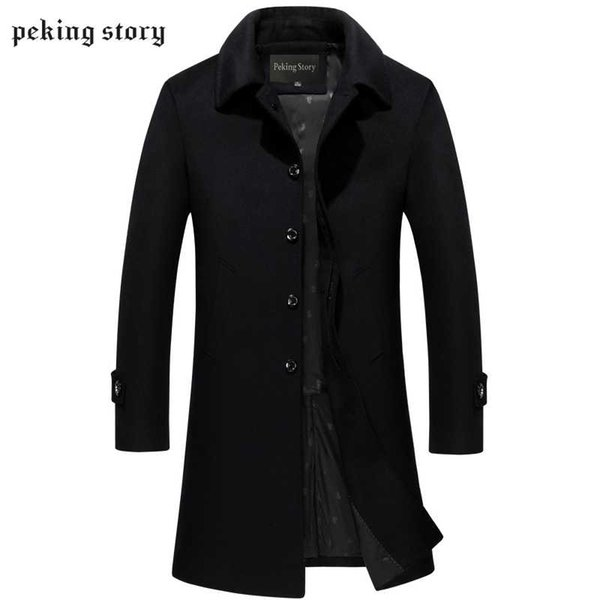 Peking Story 2018 Autumn and Winter Cashmere Coats 50% Off Men Jackets Men' s Long Casual Wool Blend Coats Large Size 3XL 4XL