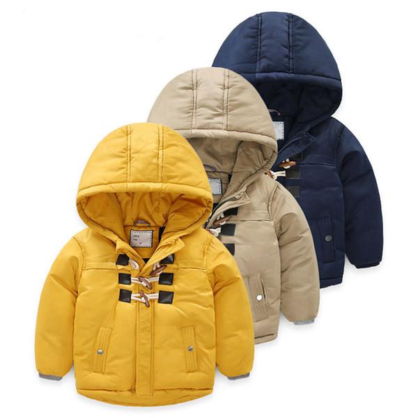 Baby Boys Winter Coats Dark Blue Children's Parka Outerwear Cotton Thicken Jackets Boy's Hooded for Kids Warm Children Clothes