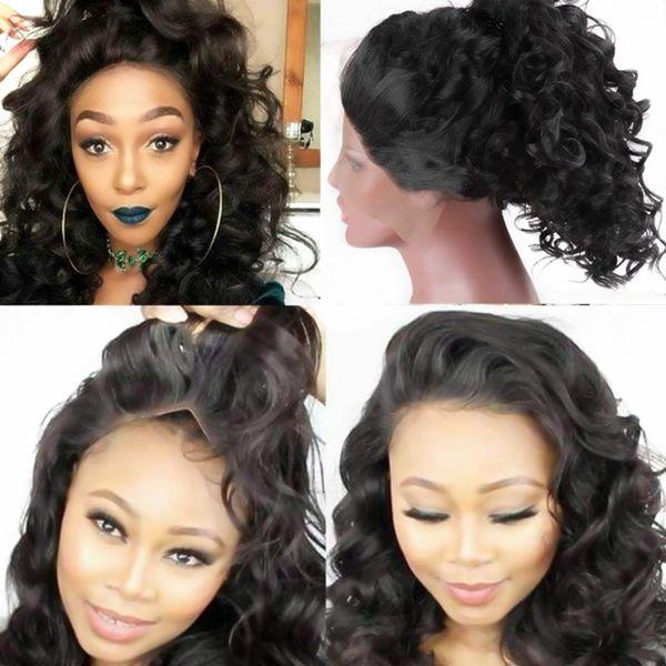 Природные Hairline Glueless Синтетические Термостойкие Вьющиеся Волосы Парик Фронта Шнурка Для Женщин Длинные Прически Бесплатный Расставание с Волосами Младенца