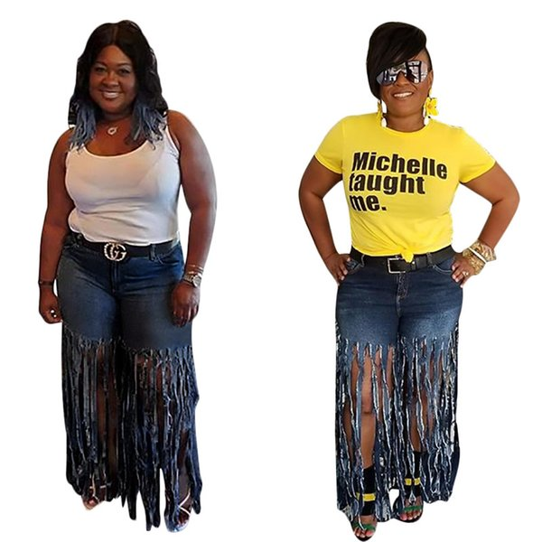 Women designer plus size Jeans tassel denim sexy & club ripped shorts Straight leg pants button fly pocket trousers fall summer clothes 1379