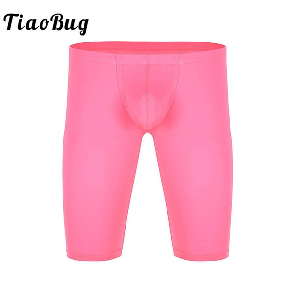TiaoBug Men Elastic Waistband Penis Bulge Pouch Workout Tight Shorts Knickers Quick Dry Solid Color Soft Sexy Male Sissy Panties