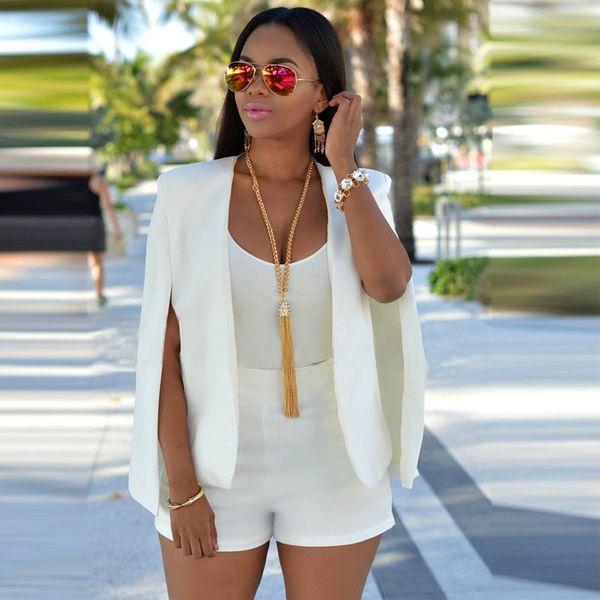 2018 yeni varış delik oymak siyah beyaz katı Moda Bayan Uzun Kollu Casual yaz Suit Casual Ceket Kaban Dış Giyim PZ