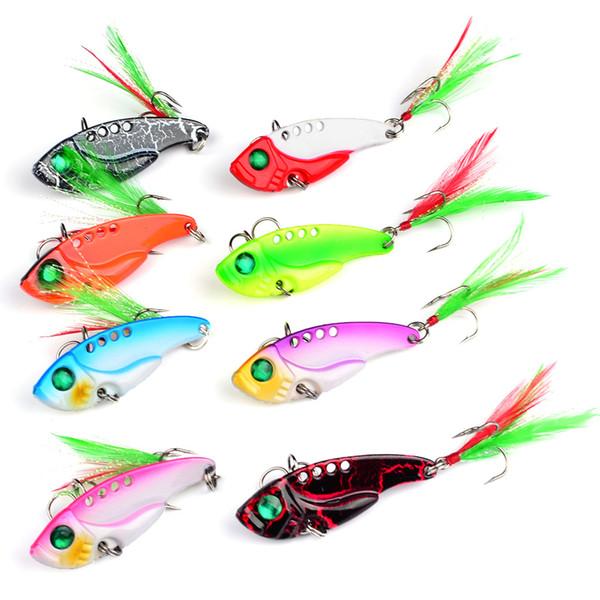8 colori 5,5 centimetri 11g VIB cucchiai ami da pesca 6 # gancio esche metalliche esche esche artificiali pesca attrezzatura da pesca accessori