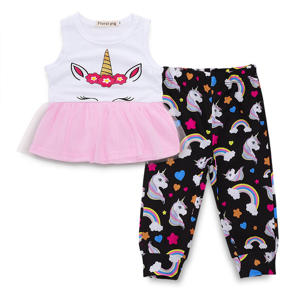 Baby Girl Suit Baby Girl Sets Sleeveless Round Neck Skirt Cartoon Rainbow Unicorn Trousers Two-piece Suit 32