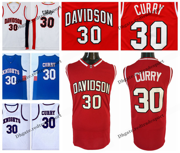 Mens Stephen Curry Davidson Wildcat College Basketball Jerseys Stephen Curry Charlotte Christian Knights High School Stitched Shirts S-XXL