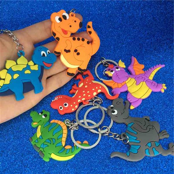 Dinosaurio de dibujos animados llavero de plástico lindo animal colorido dinosaurio llavero llaveros bolsa bolsa cuelga joyería de moda envío de la gota