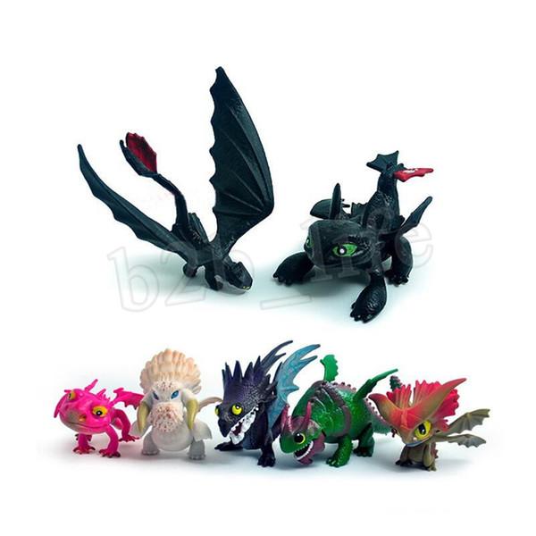 7 teile / satz Wie Drachenzähmen 3 Figur Spielzeug Zahnlos Schädel Gronckle Tödliche Nadder Nacht Wut Drachen MMA1512 10lot
