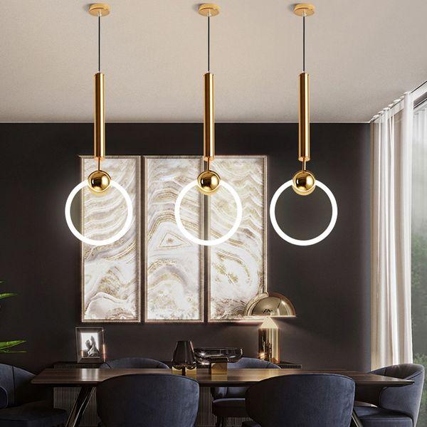 Compre Moderno LED Lámparas Colgantes Simples Círculo Anillo De Hierro  Luces Colgantes Para Comedor Bar Cafe Shop Inicio Accesorios De Iluminación  A ...