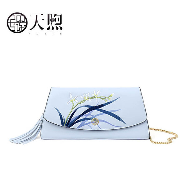 2019 new pmsix superior cowhide fashion women leather bag luxury embroidery women clutch bag leather shoulder