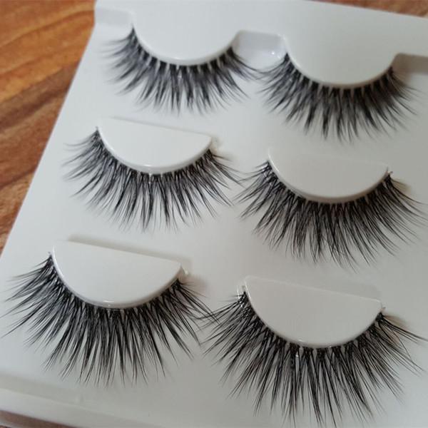 3 Çift / takım Doğal Siyah Göz Lashes Makyaj El Yapımı Kalın Çapraz Yanlış Kirpik Uzatma Makyaj Araçları