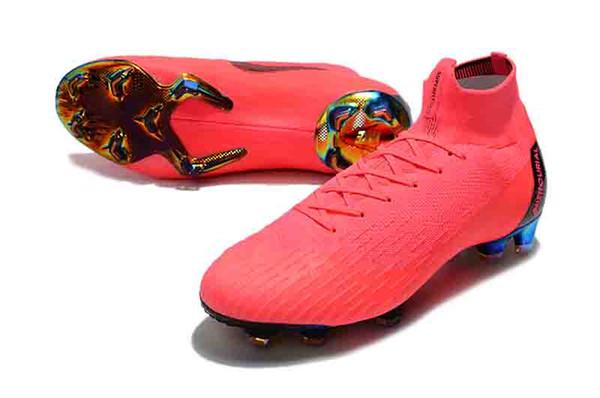 Mercurial Superfly VI 360 Elite FG Zapatos de fútbol PINK Neymar 12 zapatos de fútbol Juego sobre C Ronaldo Superfly CR7 Botas de fútbol Tamaño 39-45