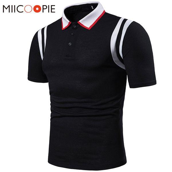 Camisa de moda para hombre 2019 Verano de manga corta de algodón Casual de negocios Hombro doble raya Patchwork Mens s Para Hombre
