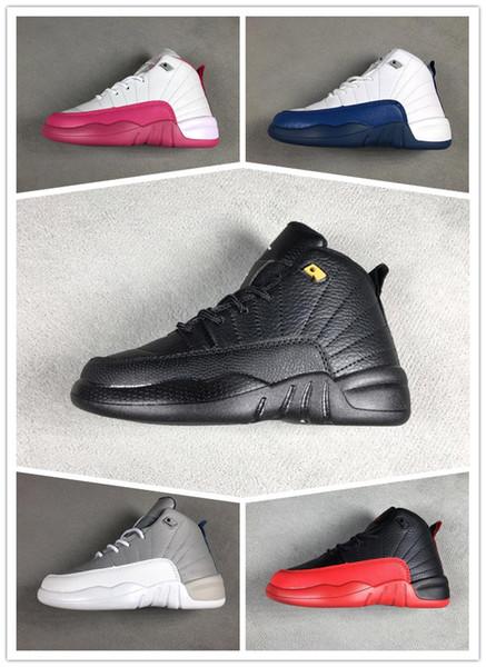 nike air jordan aj12 2019 marka 12 Çocuk Ayakkabı Çocuk J12s Basketbol Ayakkabıları Yüksek Kaliteli Spor Ayakkabı Gençlik Erkek kız Sneakers Satılık Boyutu: US11C-3Y AB 28-35